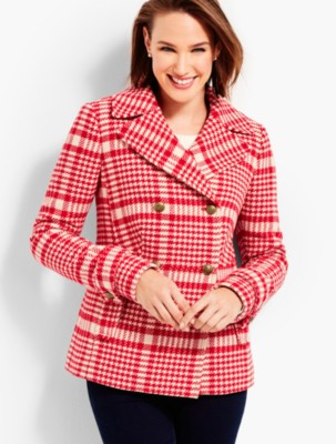 Vintage Coats & Jackets | Retro Coats and Jackets Talbots Womens Trail Plaid Peacoat $249.99 AT vintagedancer.com