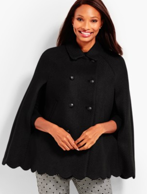 Vintage Coats & Jackets | Retro Coats and Jackets Talbots Womens Scallop Hem Cape Solid Color $197.99 AT vintagedancer.com