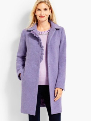Vintage Coats & Jackets | Retro Coats and Jackets Talbots Womens Albury Wool Ruffle Coat $319.99 AT vintagedancer.com