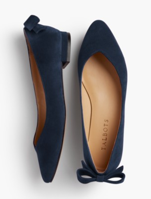 Vintage Style Shoes, Vintage Inspired Shoes Talbots Womens Edison Suede Bow Back Flats $54.99 AT vintagedancer.com