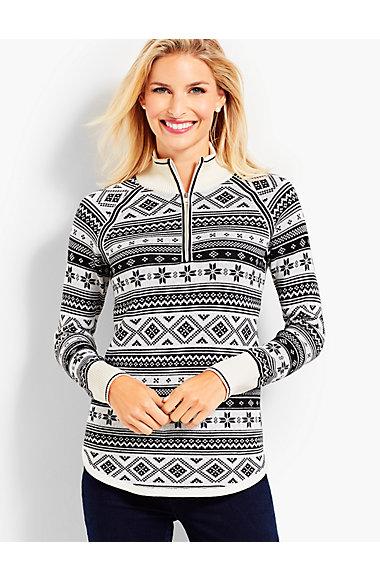 Thermolite® Fair Isle Half-Zip Sweater   Talbots