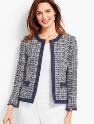 Vintage Coats & Jackets | Retro Coats and Jackets Talbots Womens Chambray Trim Tweed Jacket $118.30 AT vintagedancer.com