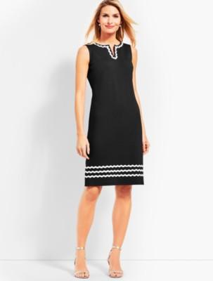 Plus Size Swing Dresses, Vintage Dresses Talbots Rickrack Trim Ponte Shift Dress $119.99 AT vintagedancer.com