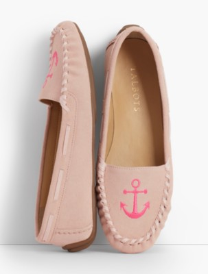 Retro Vintage Flats and Low Heel Shoes Talbots Womens Everson Driving Moccasins Embroidered Anchor $99.99 AT vintagedancer.com