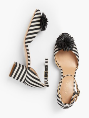 Pin Up Shoes- Heels & Flats Talbots Womens Isa Pom Pom Pumps Yarn Dyed Stripe $104.30 AT vintagedancer.com
