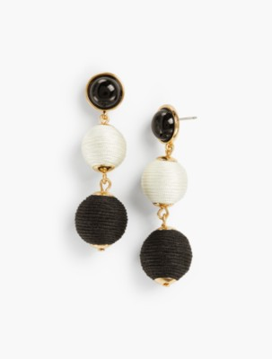 Vintage Style Jewelry, Retro Jewelry Talbots Womens Thread Wrapped Spheres Earrings $34.50 AT vintagedancer.com
