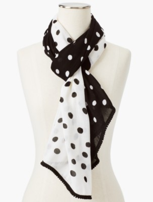 Vintage Scarf Styles -1920s to 1960s Talbots Womens Moving Dots Scarf $41.65 AT vintagedancer.com