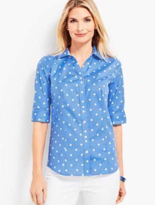 Vintage & Retro Shirts, Halter Tops, Blouses Talbots Womens The Perfect Shirt Polka Dot $79.50 AT vintagedancer.com
