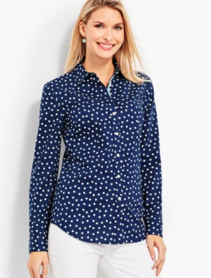 1950s Rockabilly & Pin Up Tops, Blouses, Shirts Talbots Womens The Classic Casual Shirt Dots $69.50 AT vintagedancer.com