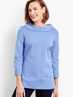 Vintage & Retro Shirts, Halter Tops, Blouses Talbots Womens End on End Sabrina Top $79.50 AT vintagedancer.com