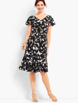 1930s Style Dresses | 30s Art Deco Dress Talbots Womens Flowing Fit Flare Dress $77.99 AT vintagedancer.com