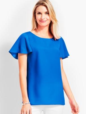 1930s Style Blouses, Shirts, Tops   Vintage Blouses Talbots Womens Soft V Neck Back Top $39.50 AT vintagedancer.com