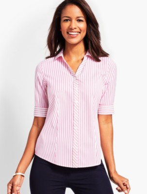1950s Fashion History: Women's Clothing Talbots Womens Coastline Stripe Elbow Sleeve Shirt $79.50 AT vintagedancer.com