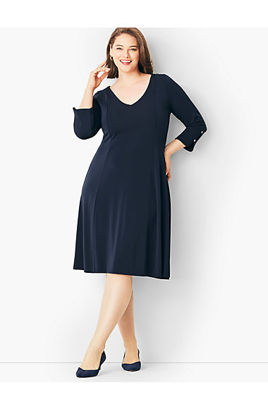Plus Size Matte Jersey Fit And Flare Dress Talbots