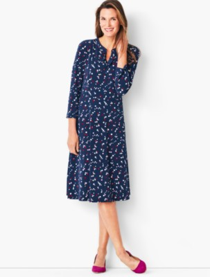 Vintage Polka Dot Dresses – 50s Spotty and Ditsy Prints Talbots Knit Fit Flare Dress Dot $119.99 AT vintagedancer.com