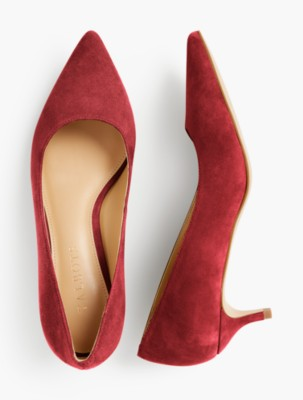 1950s Style Shoes | Heels, Flats, Saddle Shoes Talbots Sylvie Kitten Heel Pumps Kid Suede $139.00 AT vintagedancer.com