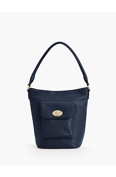 Turnlock Bucket Bag Pebbled Leather