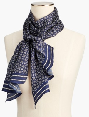 Vintage Scarves- New in the 1920s to 1960s Styles Talbots Diamond Foulard Scarf $54.99 AT vintagedancer.com