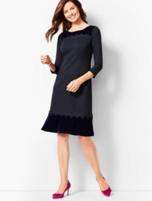 1920s Style Dresses, 20s Dresses Talbots Refined Ponte Velvet Dress $111.75 AT vintagedancer.com