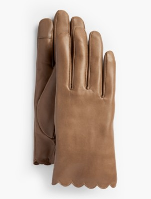1950s Fashion History: Women's Clothing Talbots Scalloped Leather Touch Gloves $99.00 AT vintagedancer.com