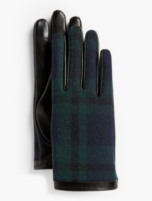 1950s Fashion History: Women's Clothing Talbots Leather Touch Gloves Black Watch Plaid $99.00 AT vintagedancer.com