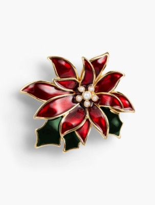 What Did Women Wear in the 1950s? 1950s Fashion Guide Talbots Holiday Brooch Collection Poinsettia $49.50 AT vintagedancer.com