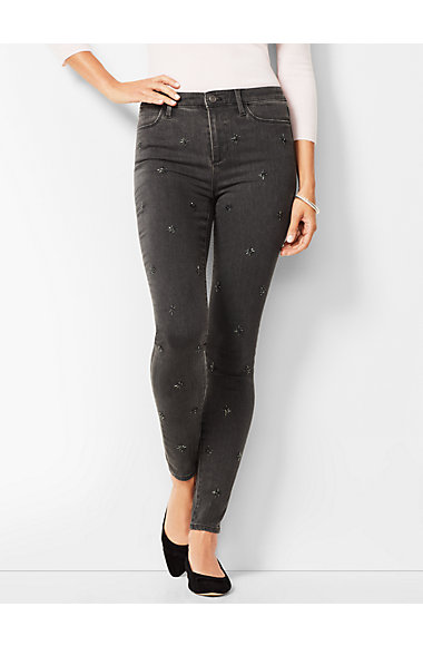 Denim Jeggings - Snowflake-Embellished