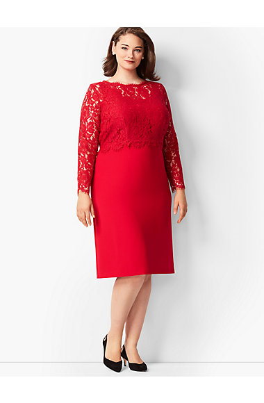 Scallop Edge Lace Crepe Dress