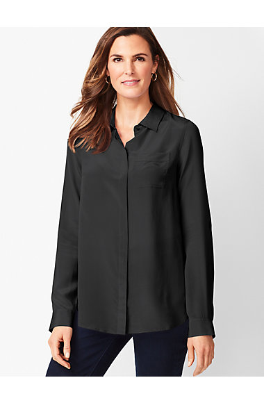 Washable Silk Button Down Shirt Solid Talbots