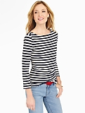 Boat-Stripes Button-Shoulder Tee