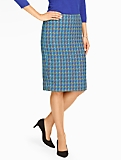 Tonal Houndstooth Pencil Skirt