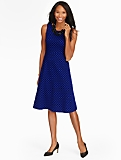 Dot Jacquard Fit-And-Flare Dress