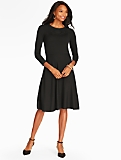 Pointelle Fit-And-Flare Sweater Dress