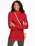 Button-Cuff Cable Turtleneck Tunic Sweater