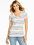 Cotton V-Neck Tee - Stripes