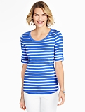 Roll-Tab Sleeve Bateau Tee - Breezy Stripes