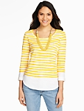 Roll-Tab-Sleeve Bateau Tee - Stripes
