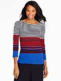 Shoulder-Button Tee - Colorblocked Stripes