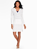 Shadow-Stripe Knit Cover-Up