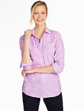 Poplin Button Front-Gingham Shirt