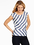 Linen Peplum Blouse - Bias Stripes