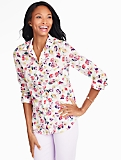 Print Cotton Shirt-Scattered Bouquets