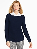 Shaker-Stitched Boatneck Sweater - Indigo