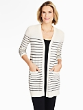 Striped Patch-Pocket Cardigan