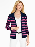 Stripe Shawl-Collar Cardigan
