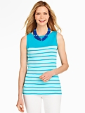 Sleeveless Boatneck Tank - Bangor Stripes