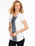 Embroidered Tie-Front Tee