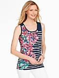 Flowers & Stripes Tank