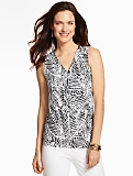 Ruched Surplice-Wrap Top-Soft Ferns