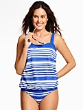 Breezy Blouson Tankini Top - Tropical Stripes